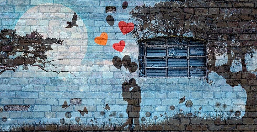 Влюбленные рисунок на стене